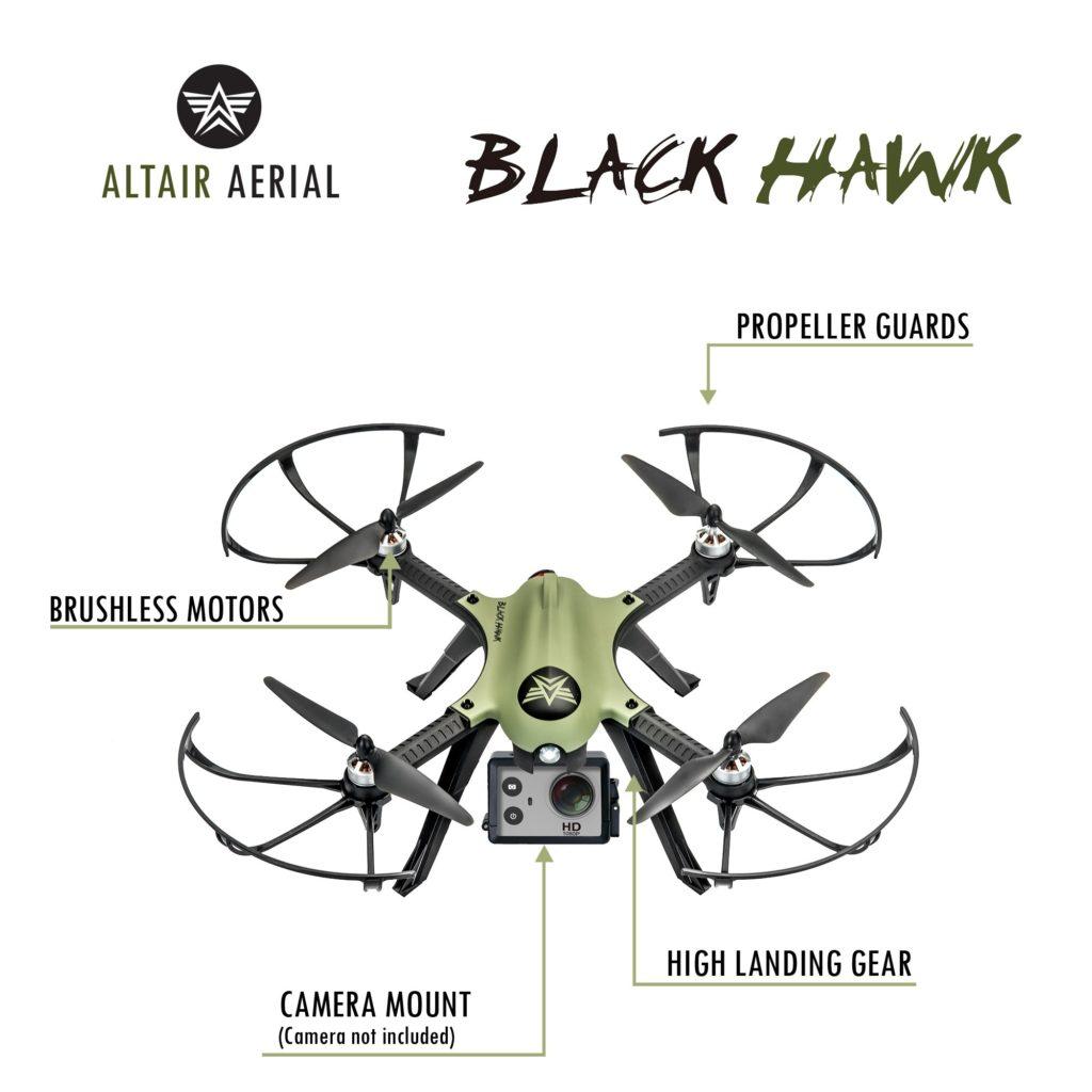 Black Hawk drone, brushless motors, propeller guards, camera mount